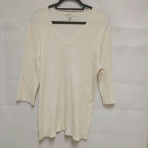Merona 24/26 Plus Sweater Cream Color V-Neck A5